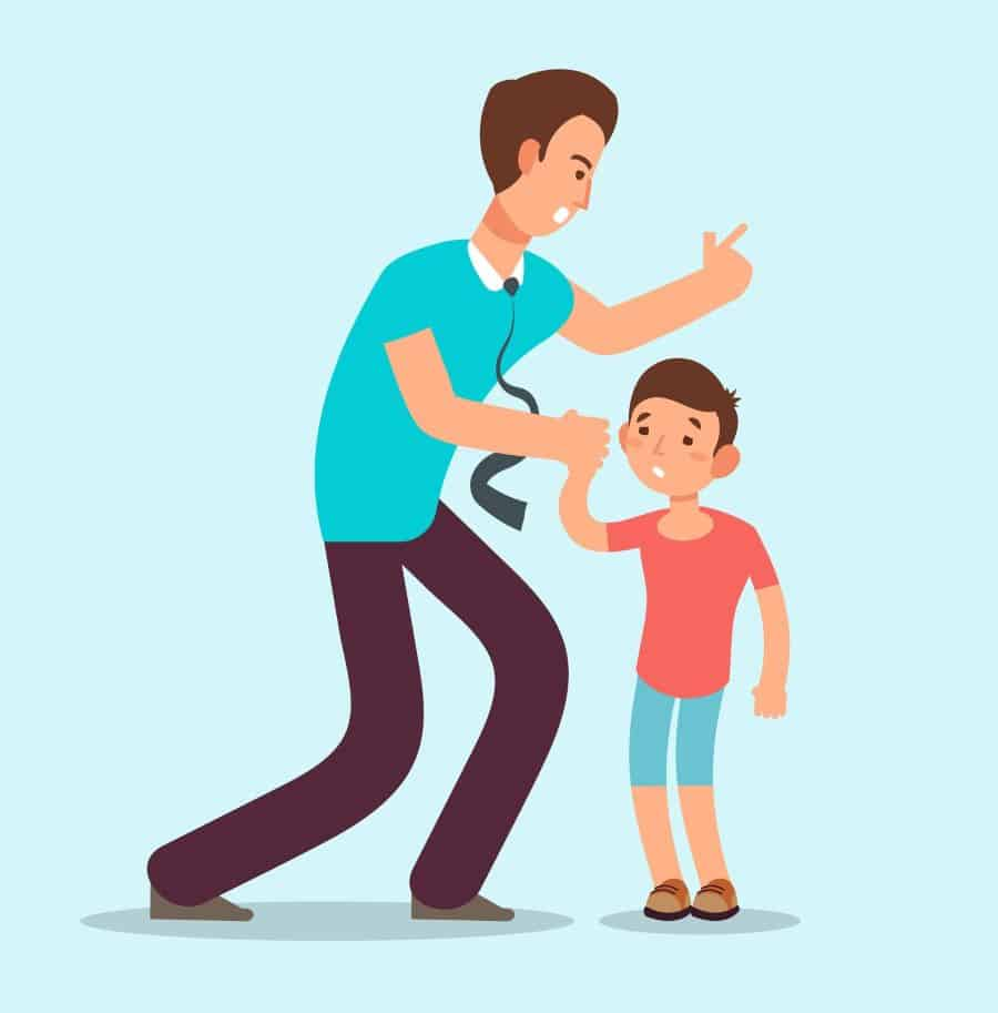 Angry father and son illustration |Parental alienation or child abuse