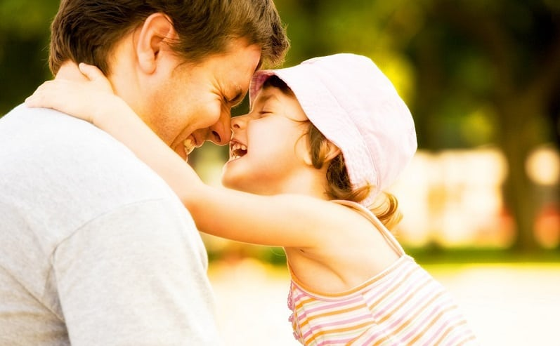 Smiling parent and child collaborative divorce